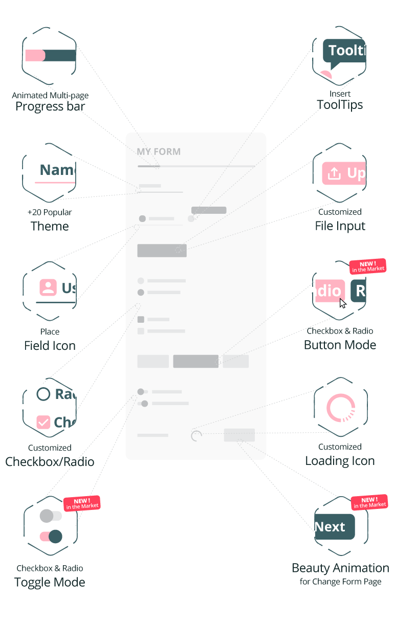 BeautyGravity pro tooltip , field icon, theme, toggle mode, button mode and animation