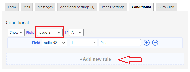 cf7 conditional page
