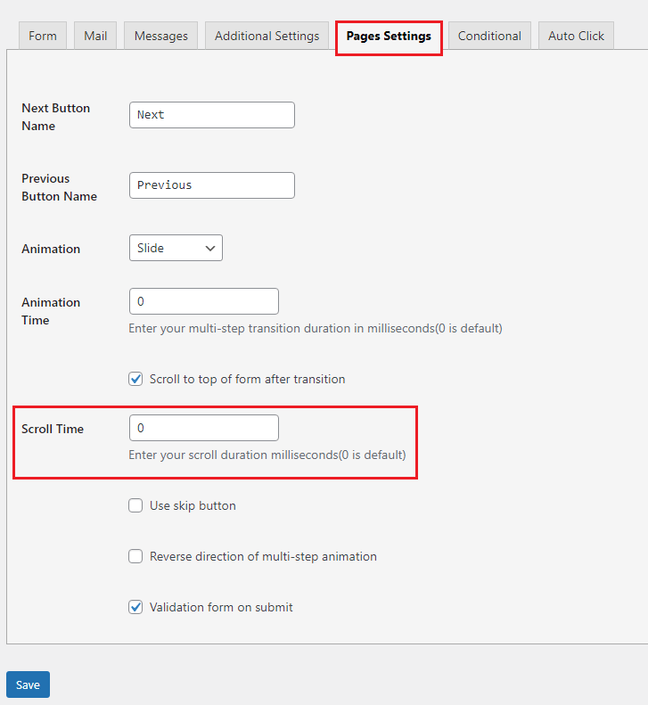 contact form scroll duration