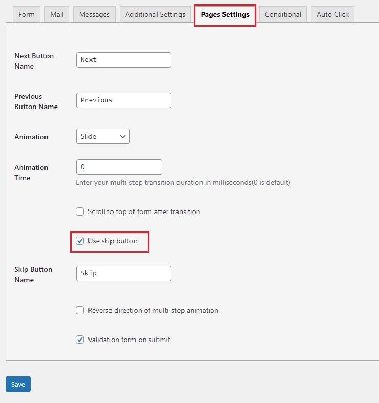 contact form skip