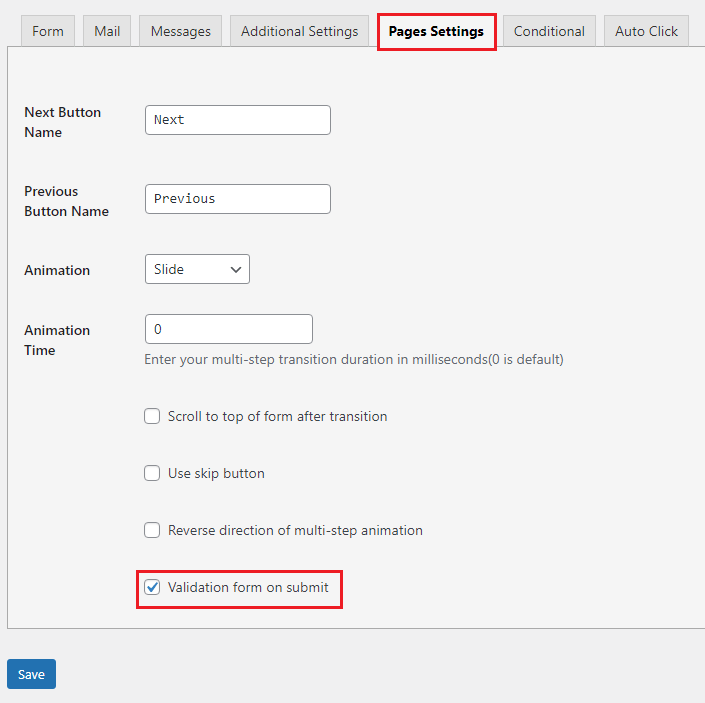 contact form validation type